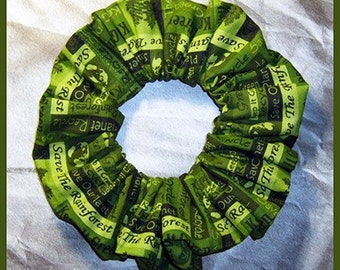 Earth Day Hair Scrunchie, Keep It Green Ponytail Holder Save The Rain Forest Hair Tie, Re-Cycle (Green)