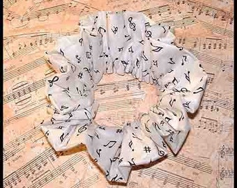 Music in the Air Hair Scrunchie, Band/Choir Ponytail Holder, Instructor/Teacher Adult Large Hair Tie