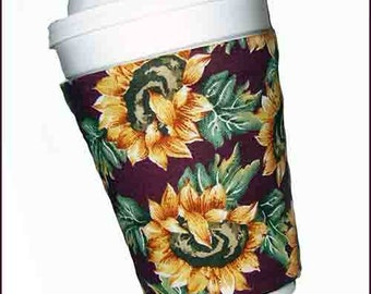 Summer Sunflower Cup Cozy,Transitional Beverage Cover, Fall/Autumn Drink Sleeve