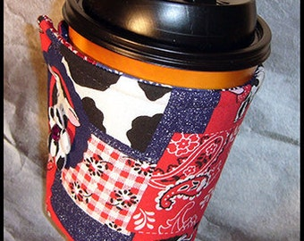 Cow, Denim, Bandana Patchwork Cup Cozy, Beverage Cover, Drink Sleeve