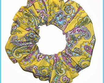 Paisley Series Hair Scrunchie, Floral Scrolls Hair Tie Ponytail Holder, Yellow