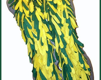 Kelly Green/Yellow Fleece Boa Scarf, 4 Layered Thick Muffler, Textured Neck Scarf