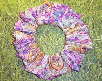 Heirloom Easter Hair Scrunchie, Spring Floral Themed Hair Tie, Fabric Ponytail Holder