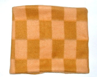 12 x 24 Inch, Large Tan/Beige Checkered Fleece Neck warmer, Buff, Gaiter, Tube Scarf