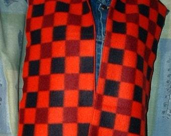 Red and Black Check Fleece Scarf, Muffler, Bufanda