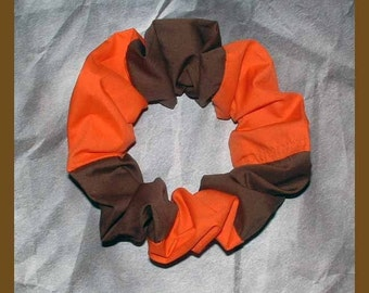 Combination Color Hair Scrunchie, Hair Tie, Ponytail Holder, Brown/Orange