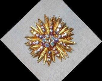 Vintage Goldtone Rhinestone Burst Pendant, Brooch/Pin Combination