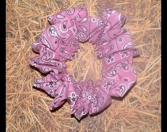 Pink Bandanna Hair Scrunchie, Adult Large Bandanna Hair Tie, Classic Bandanna Ponytail Holder
