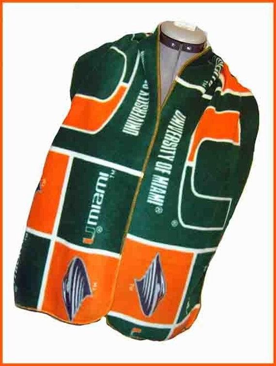 University of Miami Fleece Scarf, Wide Style Muffler, Large Scarf, Green Panel