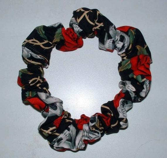 Skull and Roses Dreadlock, Sisterlocks Hair Scrunchie, Hair Tie ...