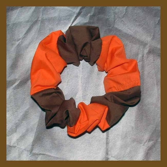 Combination Color Hair Scrunchie, Hair Tie, Ponytail Holder, Brown/Orange