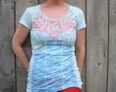 Womens Pale Blue Macro/Micro Tunic, Size XL