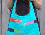 SALE - Patchwork Handbag - Turquoise and Stitched