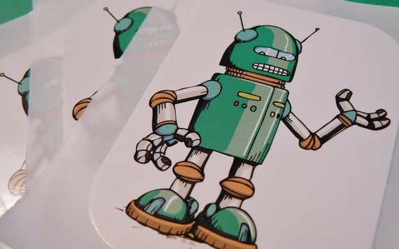 Robot stickers Set of 3