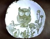 Olive Hand Built Owl Trinket Dish
