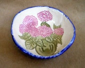Ceramic Small Hand Built Hydrangea  Bowl