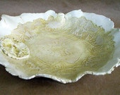 Yellow Lace  Ceramic Bowl hand built pottery