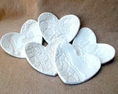 Ceramic FIVE itty bitty Lace Heart Ring Bowls