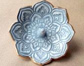 Lotus Ring Holder Bowl  Smokey Gray with Gold Edging