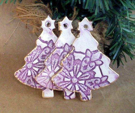 THREE Ceramic Christmas Tree Ornaments
