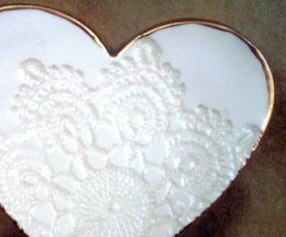 Ceramic  Lace  Heart Trinket Dish