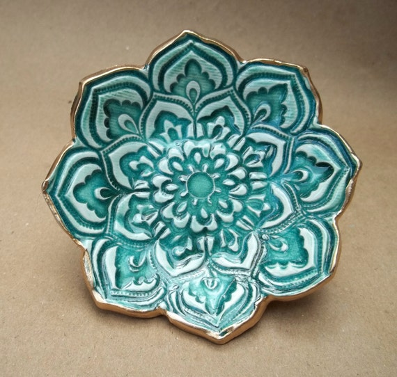 Malachite green Lotus Bowl