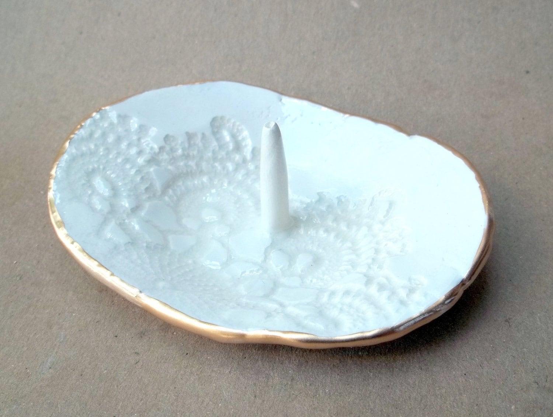 Lace Ceramic Ring Holder Bowl
