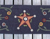 Primitive Star and Flowers Wool Penny Rug Table Runner...36 inches by 12 1\/4 inches