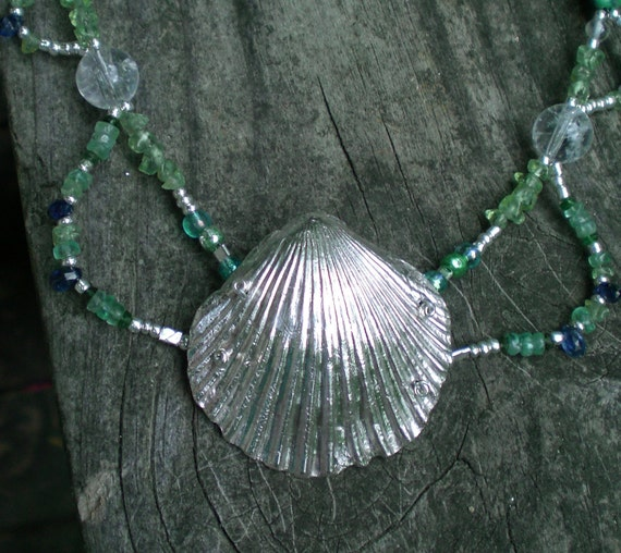 Silver Scallop Shell Mermaid Necklace with Quartz, Turquoise and Gemstones