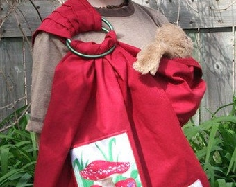 Sewfunky Doll Baby Sling Certifed Organic Cotton with Gnome Patch