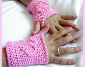 ADULT  PDF PATTERN Pink Heart Crochet Fingerless Gloves