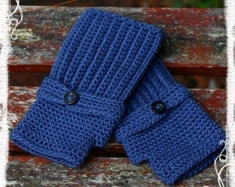 PDF PATTERN Women Ladies Blue Denim Fingerless Gloves Crochet