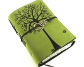 Leather journal, Green, Notebook, APPLE TREE