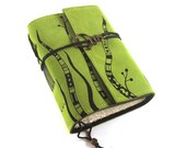 Leather journal, Green, Notebook: Grasses