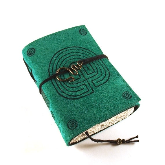 Leather Journal, Seagreen Suede:  Labyrinth