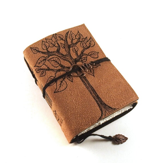 Tree, leather journal, suede, painted