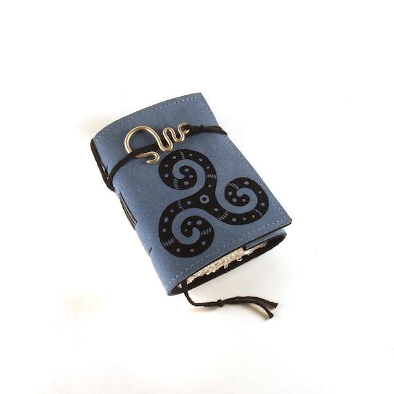 Mini  Leather Journal, Triskelion