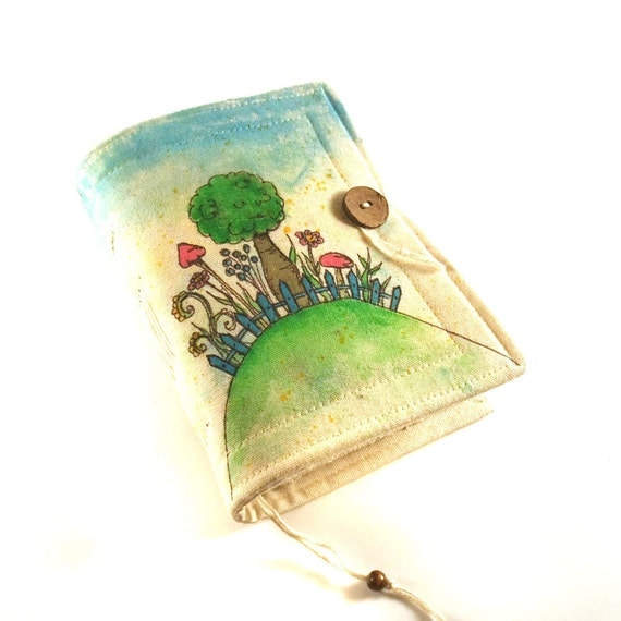 Journal, Notebook, Diary, Painted Fabric, Secret Garden