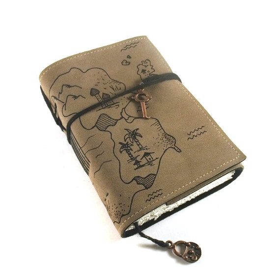 Leather Journal, Handmade, Treasure Map