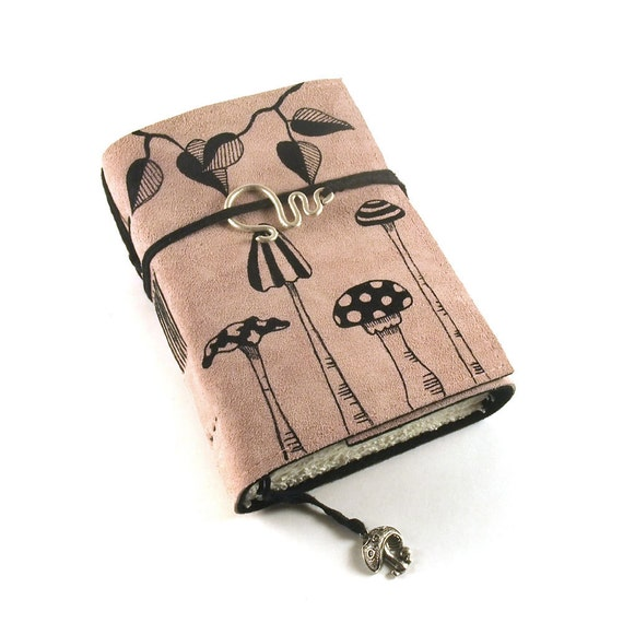 SALE Mushrooms, Leather journal, Dusky Pink, Diary