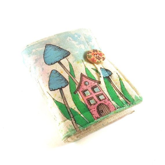 Journal, Notebook, Diary, Painted Fabric, Home Sweet Home