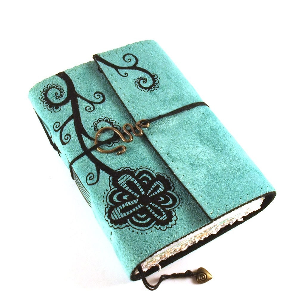 Swirl Plant Leather Journal Diary Book