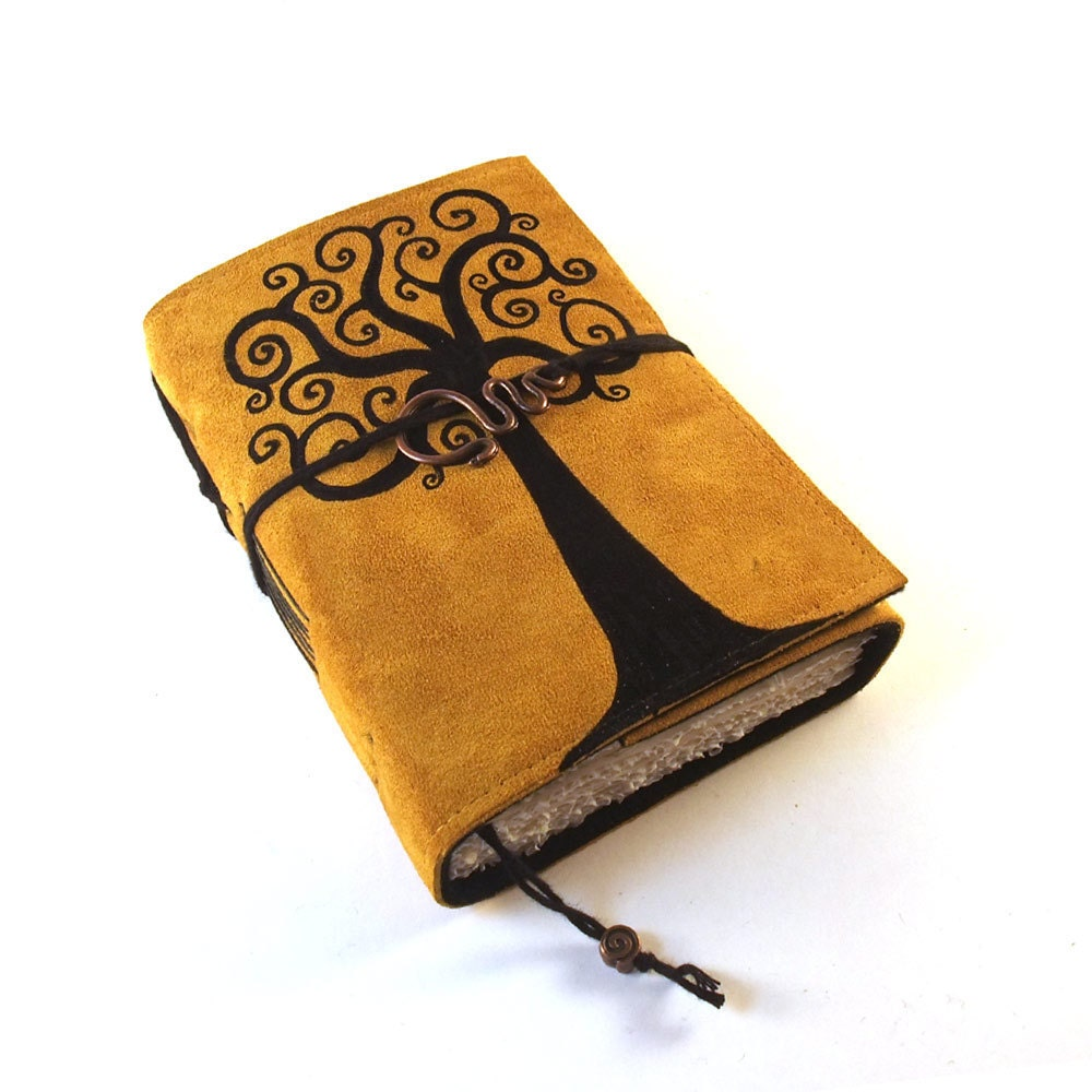 Handmade Leather Book Cover : Swirl tree leather journal diary book by kreativlink on etsy