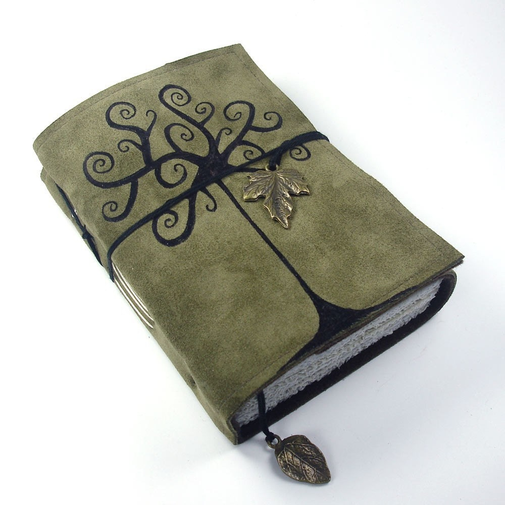 leather journal tree of life writing notebook - handmade leather bound daily