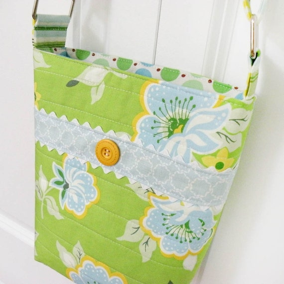 MOVING SALE - Small Messenger Bag - Church Flowers Shoulder Bag Lime Green Heather Baily Bright colors