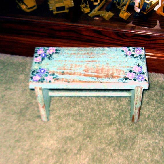 Small Vintage Foot Stool Handpainted
