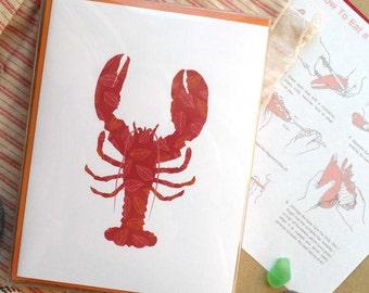 Lobster--Coastal Summer Card: single or boxed set