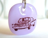 Dodge Dart Pendant. Retro Car Photo Necklace. A fused glass pendant necklace in Lavender. - family trip, first car -