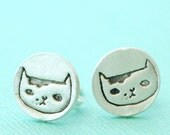Martha the CAT stud earrings, Illustration by GEMMA CORRELL, eco-friendly silver. Handcrafted by Chocolate and Steel