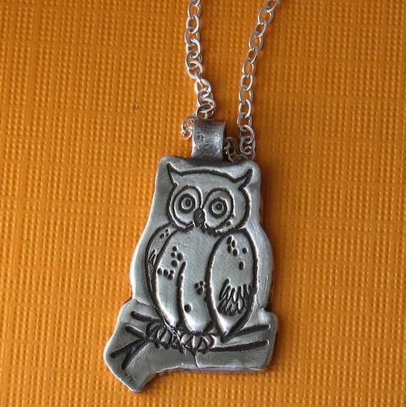Owl Fine Silver Pendant
